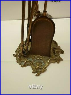Vtg Victorian Ornate Brass Fireplace Set Tools 5 pieces