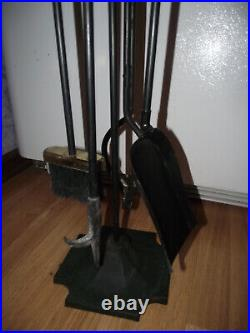 Vtg Wood Handles 5-piece Brass Fireplace Tool Set Stand Heavy Duty & Good Cond
