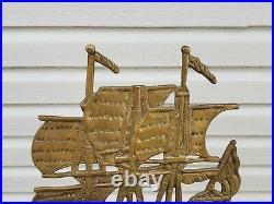 Vtg nautical fireplace brass tools Sailing ship motif large set