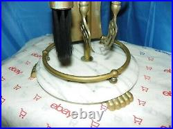 WHITE MARBLE FIREPLACE TOOL SET WithMARBLE HANDLES & BASE WITH CLAW FEET
