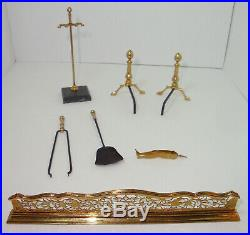 William Bill Robertson Dollhouse Miniature Fireplace Set Andirons, Fender, Tools