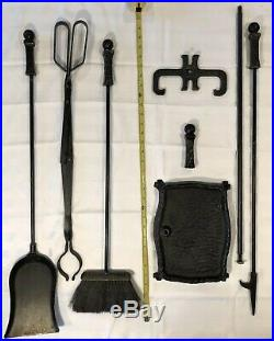 Wrought Iron Fireplace Tool Set Arts & Crafts Mission Styling 32 Tall 16.5 #s