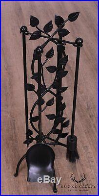 Wrought Iron Leaf Pattern Set Fireplace Tools