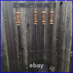 Wrought Iron Wood Brass Fireplace Tools 5 Piece Set Wall Mounted Hanging