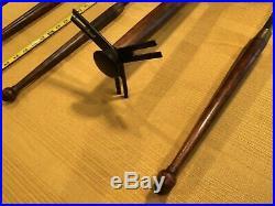 Wrought Iron & Wood Fireplace Tool Set Mid Century Modern Styling MCM