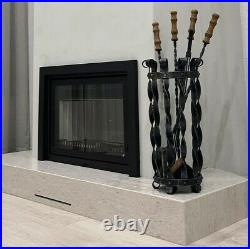 Wrought iron Fireplace set with oak handles. 4 fireplace tools in the basket