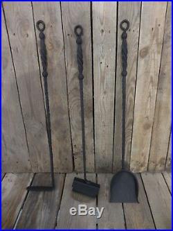 Wrought iron fireplace tool set, Hand forged, Blacksmith made, Metal decor