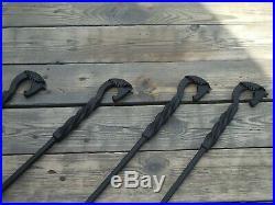Wrought iron fireplace tools set, 4 Pieces (Poker, Shovel, Tongs, Broom)
