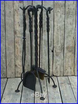 Wrought iron fireplace tools set, 5 Pieces (Poker, Shovel, Tongs, Broom, Stand)